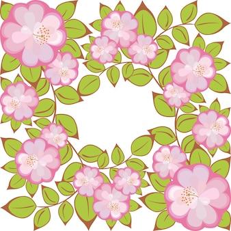 Motivo di fiori rosa viola racchiusi in un quadrato