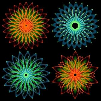 Modello di spirografo di elementi di design rotondi su sfondo