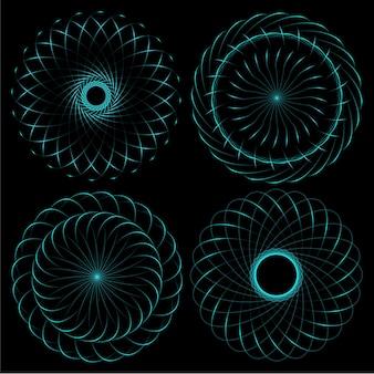 Modello di spirografo di elementi di design rotondi.