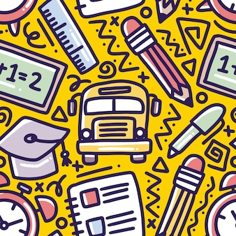 Modello di disegno a mano tempo di scuola con icone ed elementi di design