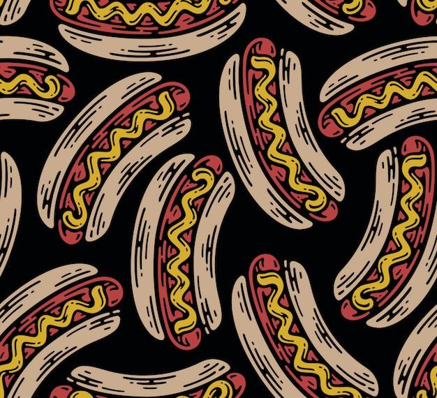 Modello senza cuciture di hot dog in doodle vintage design