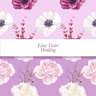 Modello senza cuciture con il concetto di matrimonio viola lilla, stile acquerello