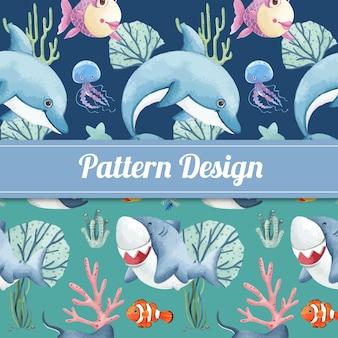 Modello senza soluzione di continuità con il concetto di oceano felice stile acquerello
