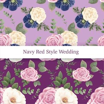 Modello senza cuciture con il concetto di matrimonio rosso navy, stile acquerello