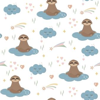 Modello di bradipi nel cielo tra nuvole, stelle e arcobaleni, tessuto per carta da parati per bambini