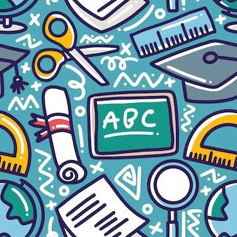 Modello di disegno a mano scuola di cancelleria con icone ed elementi di design
