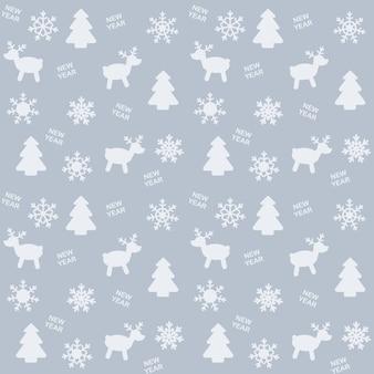 Motivo sul tema del capodanno o del natale con l'immagine di fiocchi di neve, albero di natale, cervi