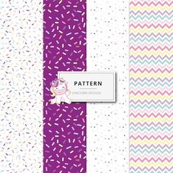 Collezione pattern design unicorn