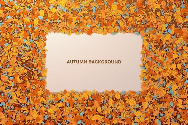 Modello con foglie cadute autunnali sfondo astratto con cornice