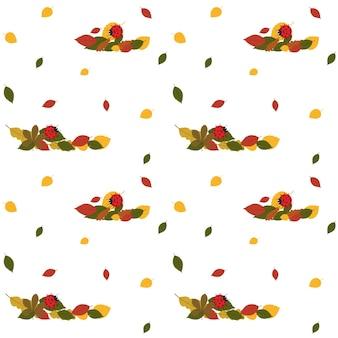 Motivo con foglie autunnali e una coccinella rossa. illustrazione vettoriale