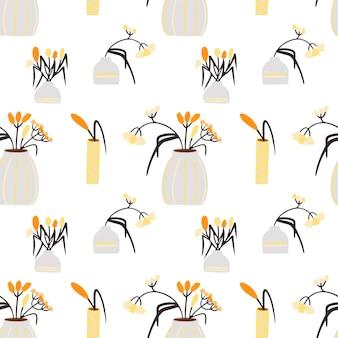 Motivo con vasi in ceramica con fiori in arredamento d'interni in stile boho
