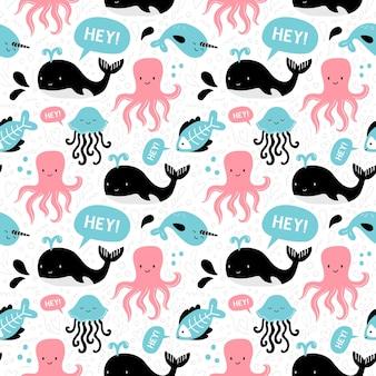 Motivo con simpatici animali marini