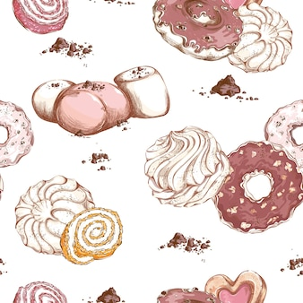Modello con diversi dolci e dessert. marshmallow, ciambelle, marmellata e gocce di cioccolato