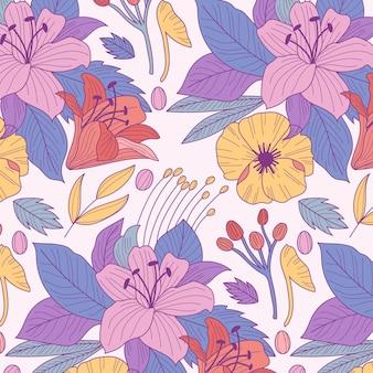 Modello con fiori e foglie