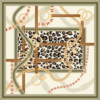 Modello con catena dorata, cinture e stampa leopardata per il design del tessuto. illustrazione di vettore. disegno della sciarpa di seta.