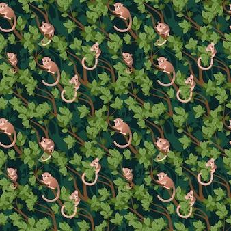Pattern con un lemure grigio topo su un albero. microcebus murinus.