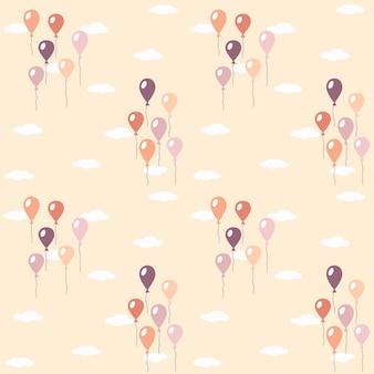 Modello con l'immagine di palloncini e nuvole. pastello. illustrazione vettoriale