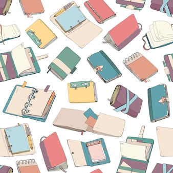 Modello con blocco note, quaderno, diari, quaderni disegnati a mano su sfondo bianco.