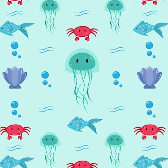 Pattern con animali dell'oceano