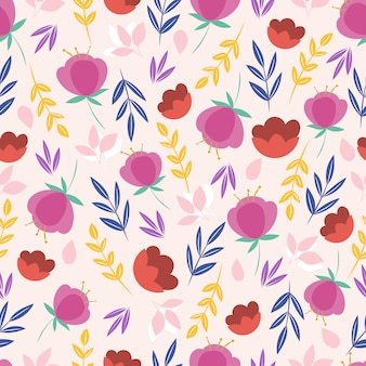 Modello con fiori e foglie rosa