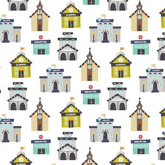 Pattern con istituzioni pubbliche scuola, ospedale, chiesa, biblioteca. carta digitale della scuola materna, illustrazione disegnata a mano di vettore