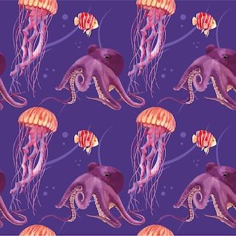 Modello con illustrazione dell'acquerello di disegno di concetto di vita di mare