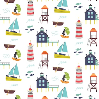 Motivo con mare, faro, molo, nave. carta digitale della scuola materna, illustrazione disegnata a mano di vettore