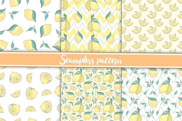 Modello con collezione di modelli senza cuciture di limone intero e tritato con foglie o non illustrazione vettoriale su sfondo bianco.