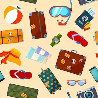 Modello con simboli estivi. modello senza soluzione di continuità con la valigia e gli elementi estivi