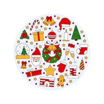 Modello con simboli di natale e felice anno nuovo. in stile tradizionale vintage per cartolina, tessuto, banner, modello per congratulazioni, carta da imballaggio. illustrazione piana di vettore.