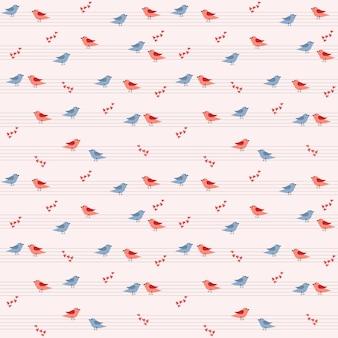 Modello con un'illustrazione vettoriale di diverse coppie di uccelli seduti su un pentagramma, ci sono molti cuori intorno.