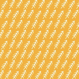 Motivo con alberi di natale bianchi su sfondo giallo