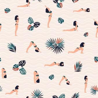 Modello con donna che fa yoga e foglie tropicali.