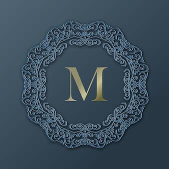 Cornice modellata per il design del monogramma