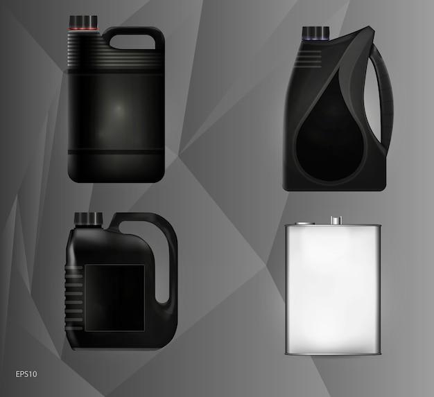 Modelli di lattine di plastica e metallo per olio motore e fluidi tecnici. illustrazione.