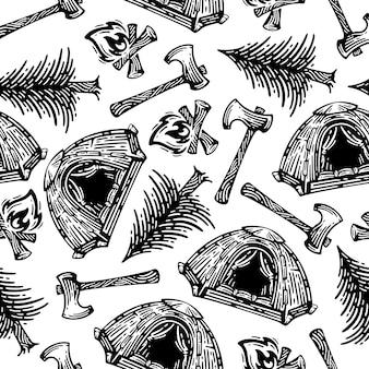 Modelli di attrezzature di sopravvivenza nella foresta senza soluzione di continuità. doodles design su sfondo bianco.