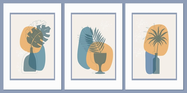 Modelli con una composizione astratta di forme semplici e foglie di palma tropicale in un vaso