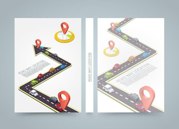 Sentiero lastricato sulla strada. striscione road book. carta formato a4, sfondo vettoriale
