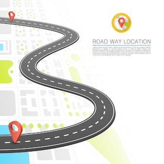 Sentiero lastricato sulla strada, posizione del punto stradale, sfondo vettoriale