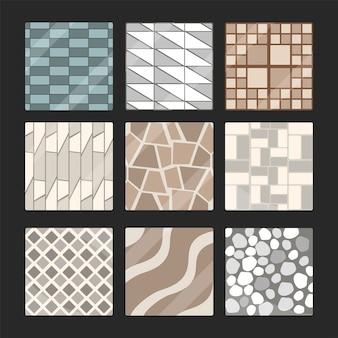Collezione di elementi per pavimentazione in pietra, lastre di pietra di roccia e mattoni