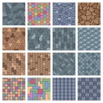 Pavimentazione in pietra, pavimentazione del paesaggio stradale elementi architettonici in mattoni. pietre del passaggio pedonale, insieme dell'illustrazione di vettore del pavimento della pavimentazione della via del paesaggio. modello di pietra per lastricati in mattoni