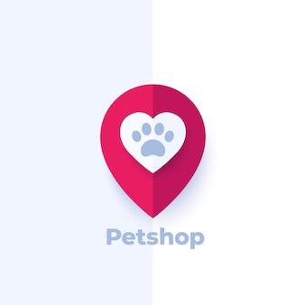 Zampa e cuore nel segno, design del logo del negozio di animali