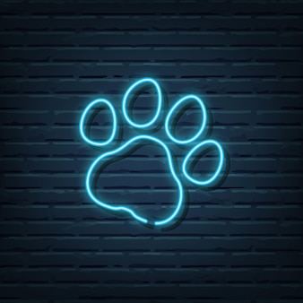 Paw print neon sign elements