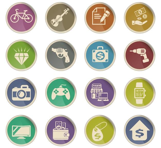 Icone web del banco dei pegni sotto forma di etichette di carta rotonde