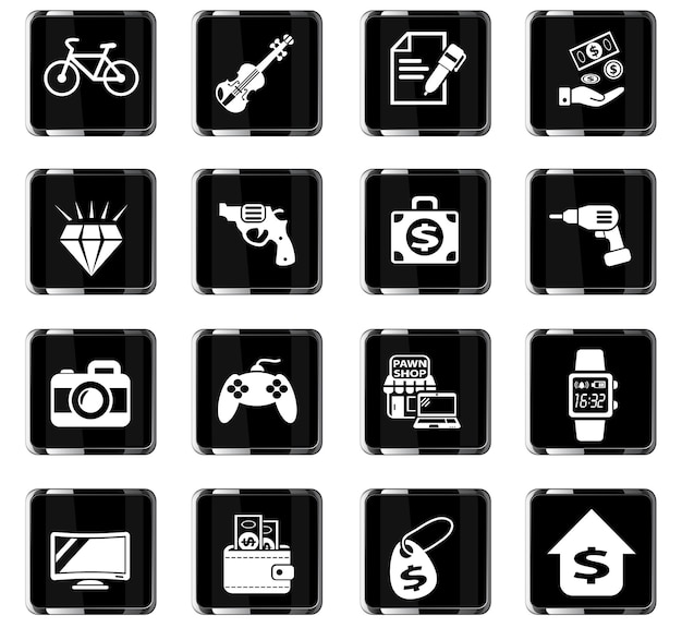 Icone web del banco dei pegni per la progettazione dell'interfaccia utente