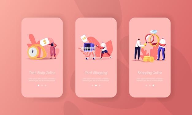 Modello di schermata a bordo della pagina dell'app mobile del negozio di pegni o dell'usato
