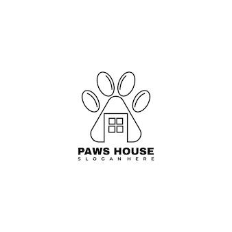 Zampe e casa lineart logo design illustrazione vettoriale