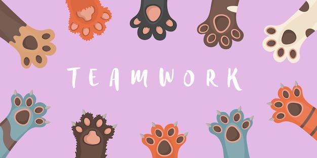 Zampa di animali isolati su sfondo bianco. zampe di cane e gatto, sfondo, stampe, cartoni animati, carta da parati gambe di simpatici animali. brochure, flyer, cartolina. in design piatto.