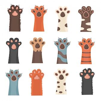 Zampa di animali isolati su sfondo bianco. zampe di cane e gatto, sfondo, stampe, cartoni animati, simpatici animali gambe tappezzeria. opuscolo, volantino, cartolina. in design piatto.