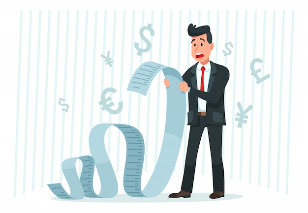 Paga un conto grande. uomo d'affari che tiene fattura lunga, colpito dall'importo di pagamento e che paga il vettore del fumetto delle fatture di finanza